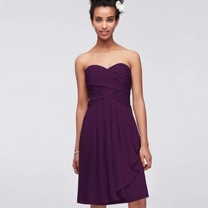 David's Bridal Plum Waterfull Cocktail Dress 12